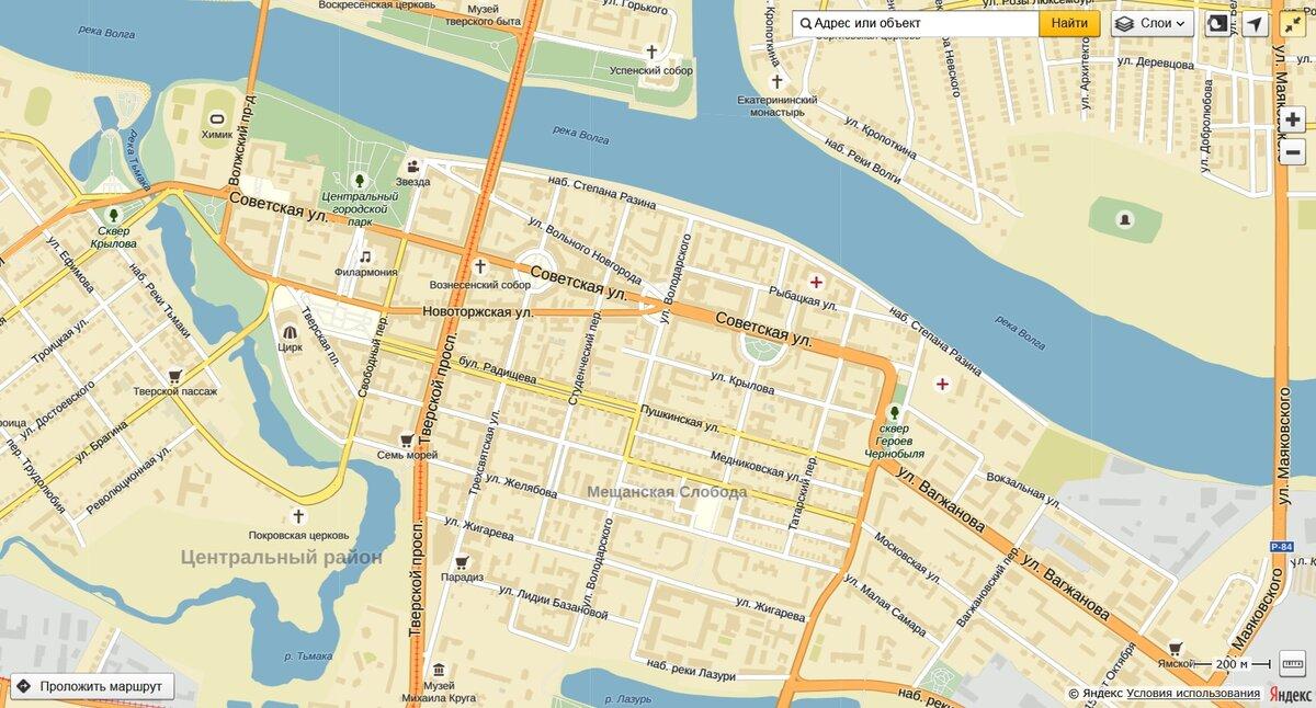Карта твери с улицами в картинках